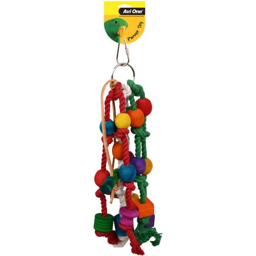Avi One Parrot Toy Rope Beads and Leather