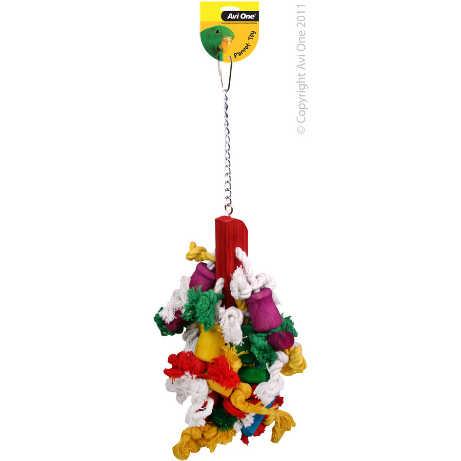 Avi One Parrot Toy Rope and Beads