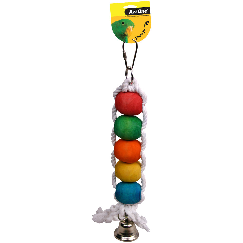 Avi One Parrot Toy Rope Beads and Bell