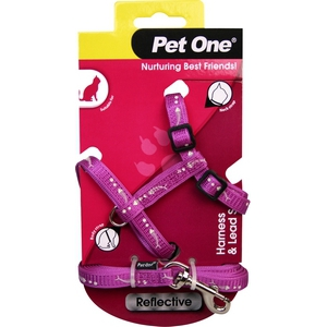 Reflective Cat Harness and Lead Set Purple