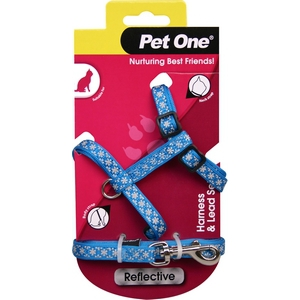 Reflective Cat Harness and Lead Set Blue
